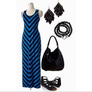 APT 9 black & Blue Chevron Maxi Dress